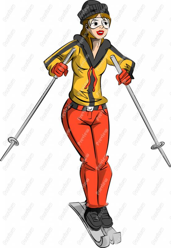 Skiing clipart woman Clip Art Clipart Woman Free