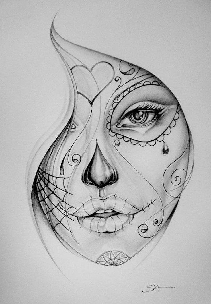 Drawn sugar skull girly IN on Art BUT Clip