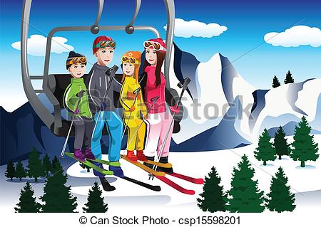 Skiing clipart family skiing A Family skiing lift a