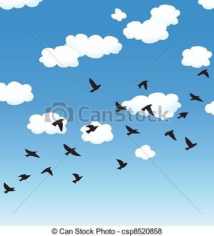 Clouds clipart bird Clouds in vector birds sky