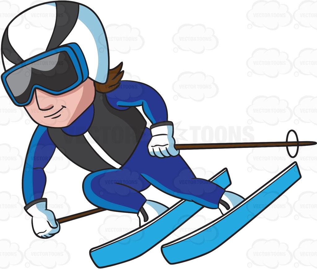 Ski clipart blue Cartoon Down The Male A