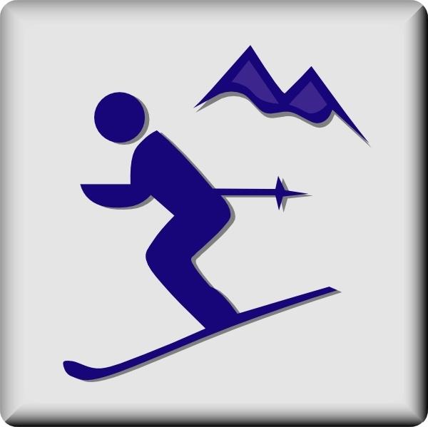 Ski clipart blue Download art vector) Skier Ski