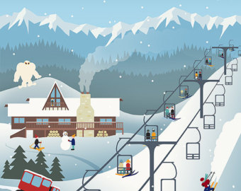 Ski Lodge clipart Retro multiple available resort Ski
