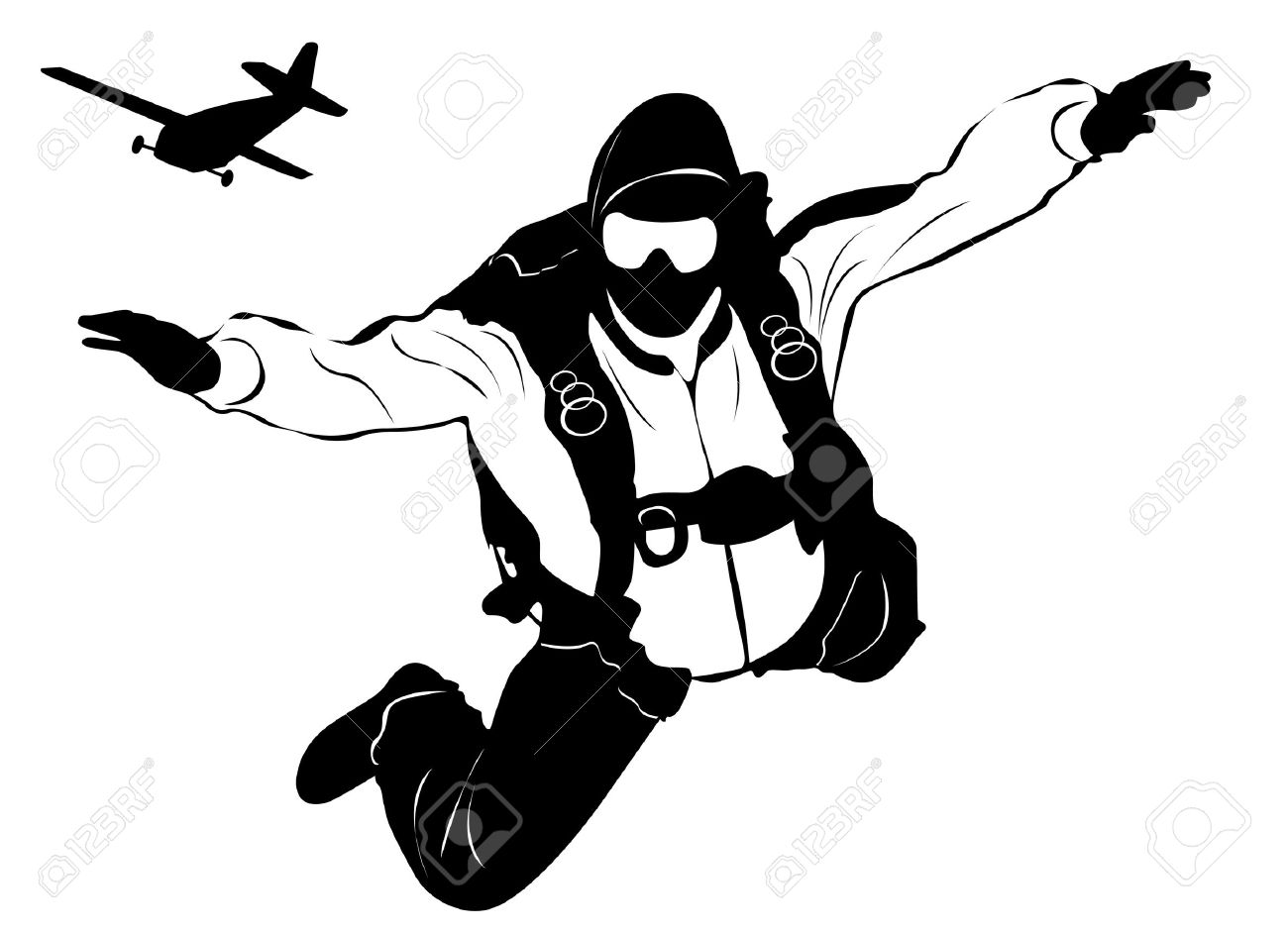 Skydiving clipart Skydiving Man Images a Plane
