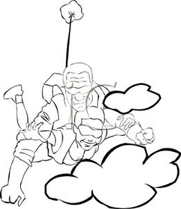 Skydiving clipart black and white Of Couple White Clipart a