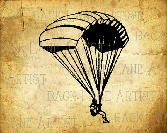 Skydiving clipart paratrooper Parachute Lineart JPG Clipart Instant