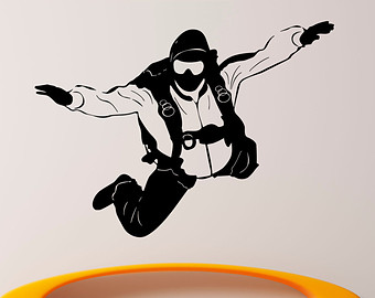 Skydiving clipart parachute jump Stickers Etsy Wall Home Jumping