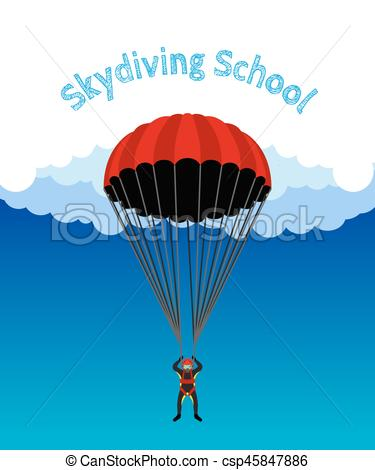 Skydiving clipart paragliding School Flat Skydiving illustration for