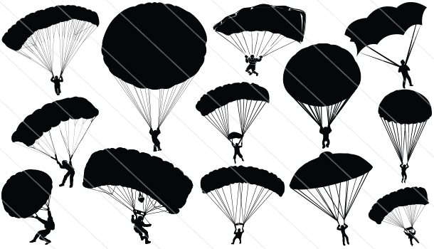 Skydiving clipart paratrooper  Silhouette Vector Parachute (13)