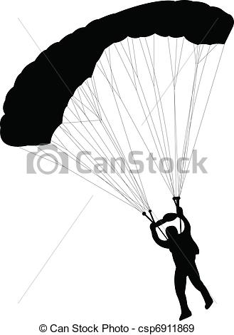Skydiving clipart silhouette Csp6911869 of csp6911869 silhouette