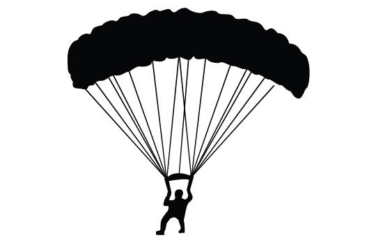 Skydiving clipart silhouette GRAPHICS  Free Download Silhouette