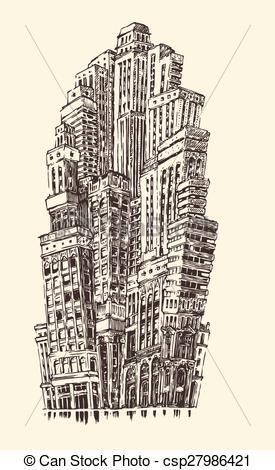 Architecture clipart skyscraper Architecture  Vintage of Illustration