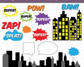Skyscraper clipart batman Hero Clip Art Set Comic