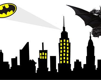 Building clipart gotham city Skyline Sticker Gotham Etsy skyline