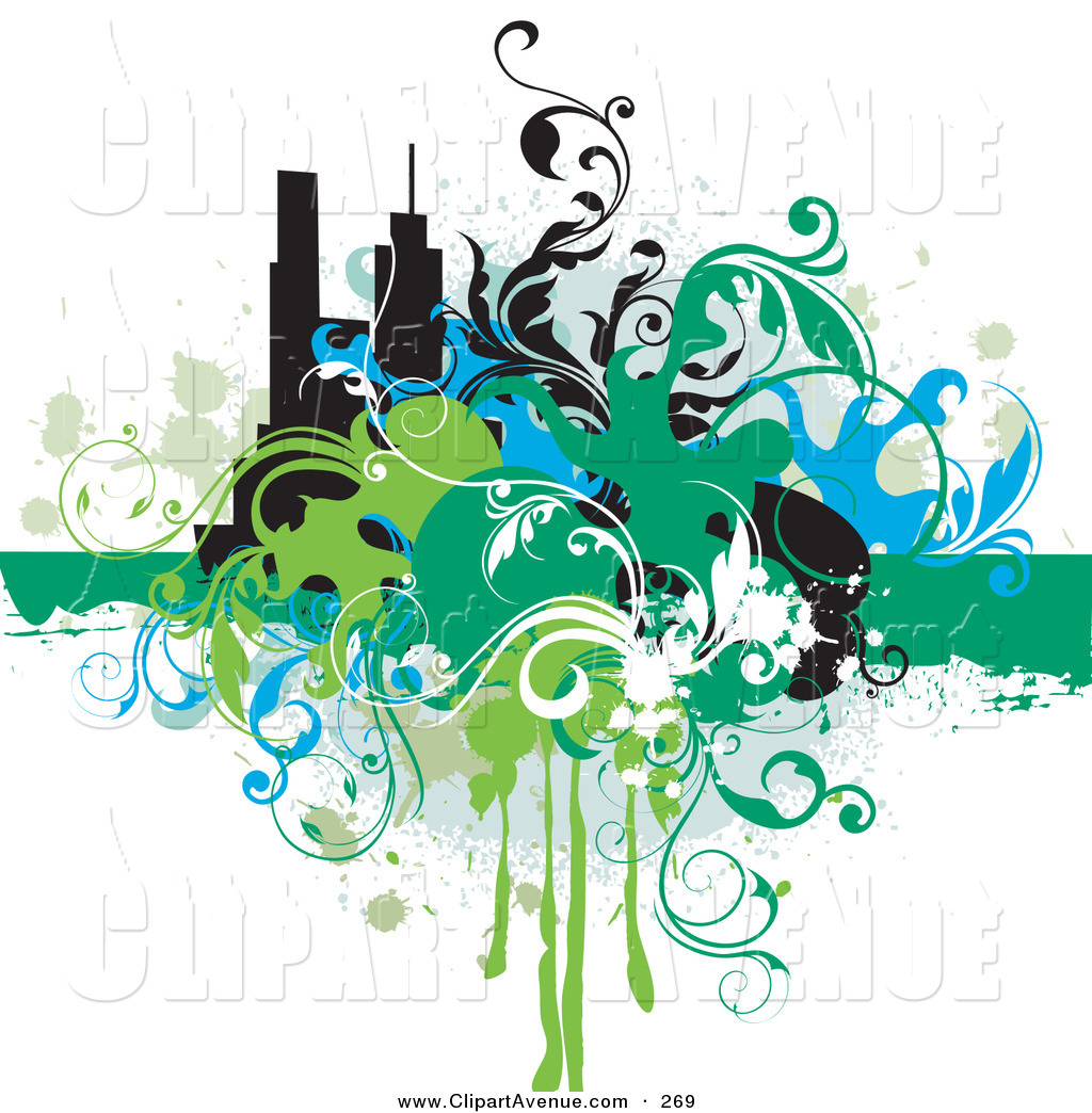 Skyscraper clipart building background Designs Grungy Avenue a Green