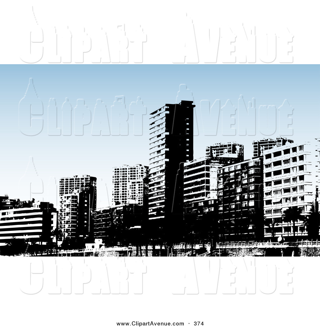 Skyscraper clipart city building Skyline Avenue of Skyline White