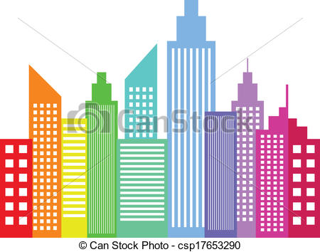 Skyscraper clipart city building Csp17653290 Rainbow Modern Rainbow Skyscrapers
