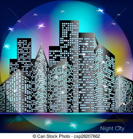 Skyscraper clipart city light  Art Night Vector with