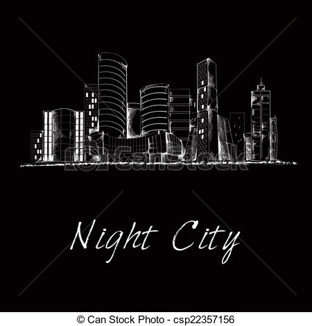 Business clipart downtown Sketch downtown city csp22357156 Night
