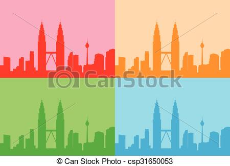 Skyscraper clipart building background Malaysia Kuala Set Skyline Colorful