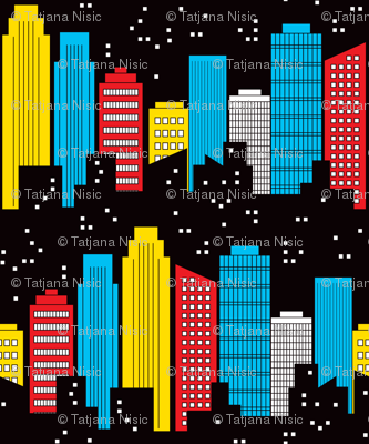 Skyscraper clipart comic book Adventures: Skyline jazzypatterns Comic fabric