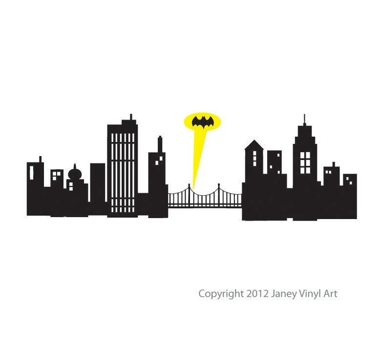 Batman clipart cityscape Large inches Wall Gotham