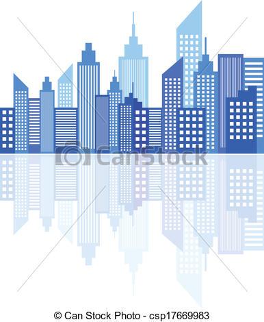 Skyscraper clipart modern city Skyscrapers Modern Blue City Modern