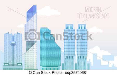 Skyscraper clipart modern city Vector Skyscraper View with Modern