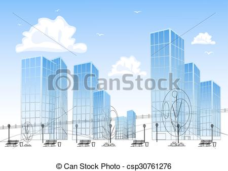 Skyscraper clipart modern city Skyscrapers EPS Big Clip modern