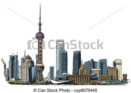 Skyscraper clipart shanghai Illustration of Shanghai of csp8070445
