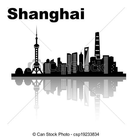 Skyscraper clipart shanghai Skyline black Shanghai  vector