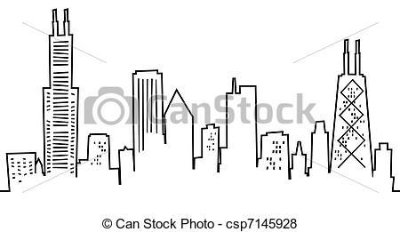 Skyscraper clipart sketch Chicago Skyline Illustration skyline
