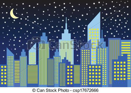 Night Sky clipart night skyline Skyscrapers Night City Skyscrapers In