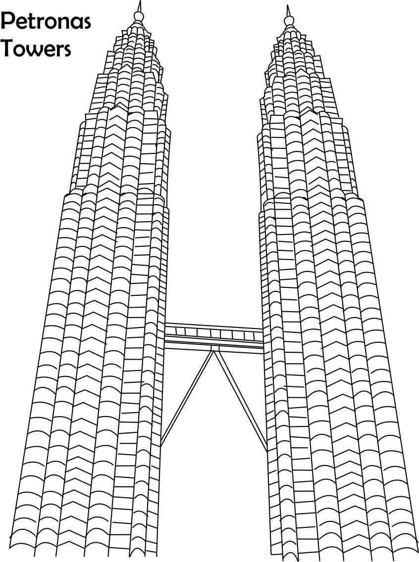 Building clipart petronas Huge Skyscraper Coloring Skyscraper Sky