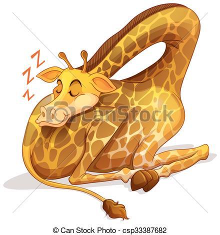 Giraffe clipart sleep Lion illustration giraffe alone sleeping