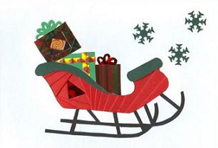 Sleigh clipart red sled Christmas Free presents Clipart with