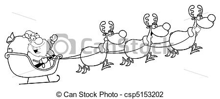Drawn reindeer sleigh Team And Reindeer Santa And