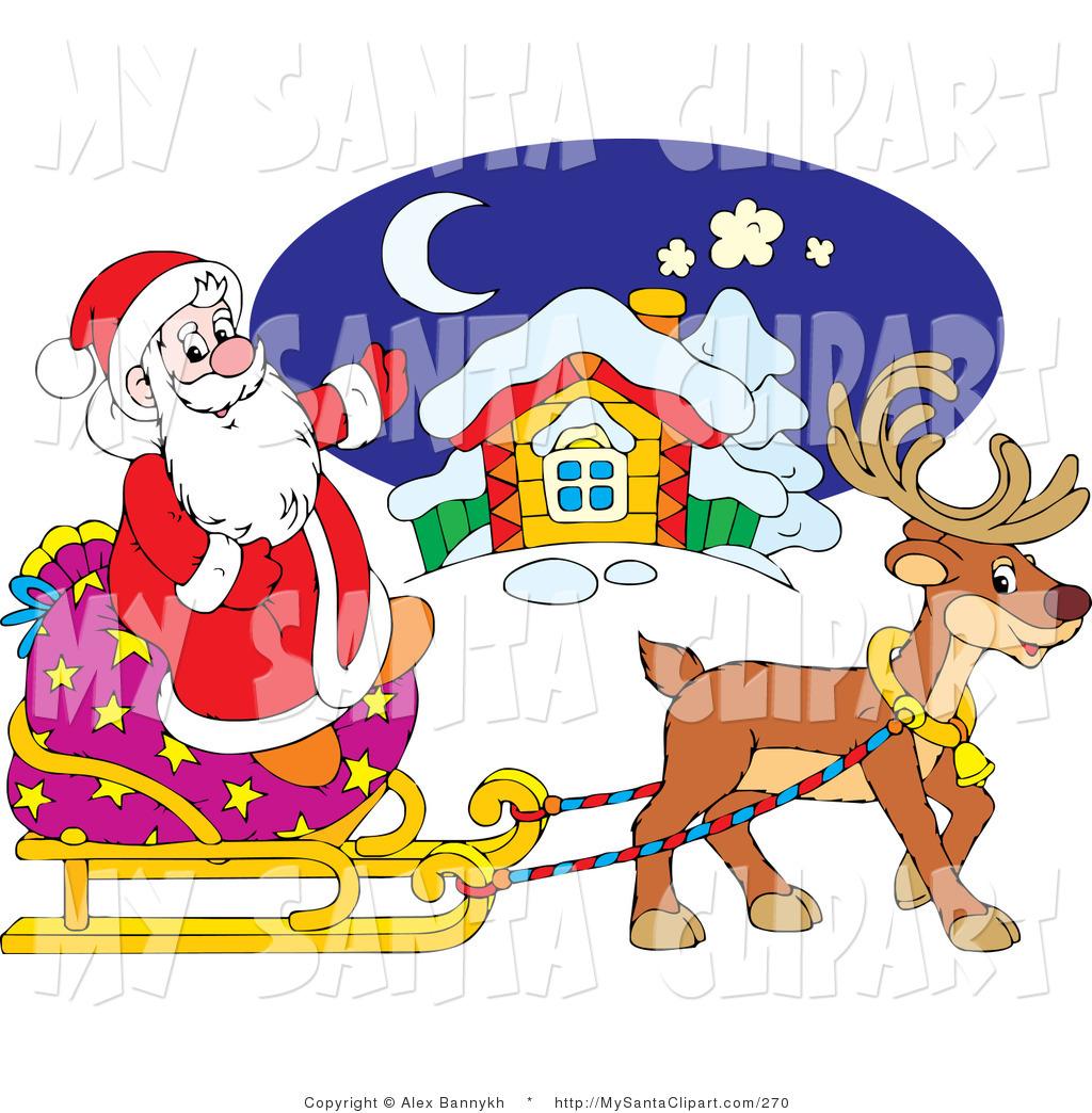 Sleigh clipart cute Santa Reindeer Brown Santa
