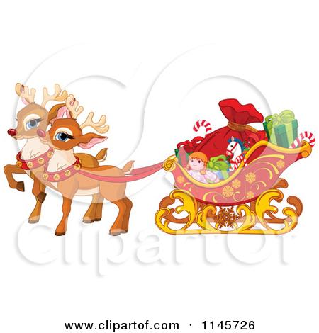 Sleigh clipart cute Sleigh Clipart Santa  Cute