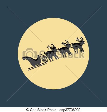 Sleigh clipart deer Claus deer Claus illustration moon