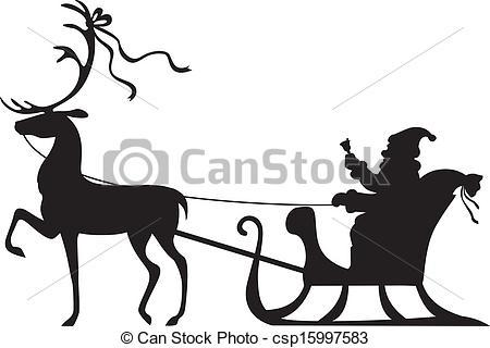 Sleigh clipart deer Deer  Silhouette Claus sleigh