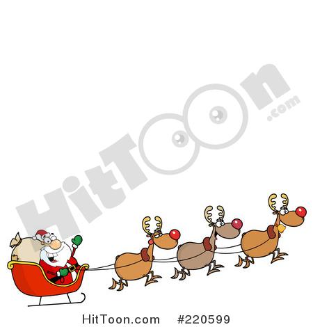 Sleigh clipart flying Santa Santa Reindeer Royalty Free