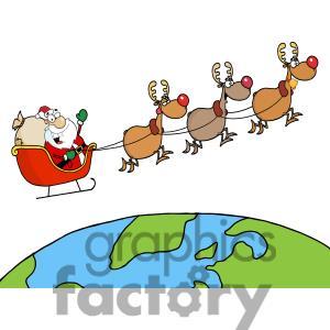 Santa clipart flying #2