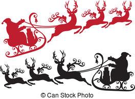 Sleigh clipart flying Reindeer sleigh  santa