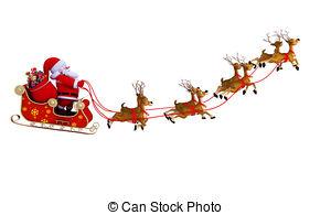 Sleigh clipart flying EPS Sleigh with  santa