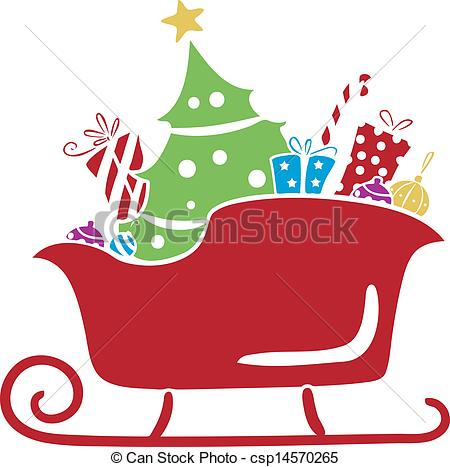 Sleigh clipart gift Vector csp14570265 Gifts Stencil with