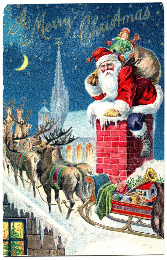 Drawn santa christmas card Images Free Fairy Graphics Free