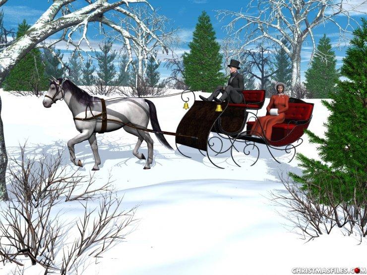 Sleigh clipart one horse open sleigh Clip  drawn Open Sleigh