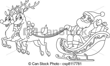 Drawn santa his sleigh Outlined Vector  Santa Outlined