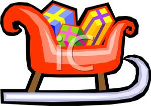 Sleigh clipart red sled Image Clipart Sled Presents Red